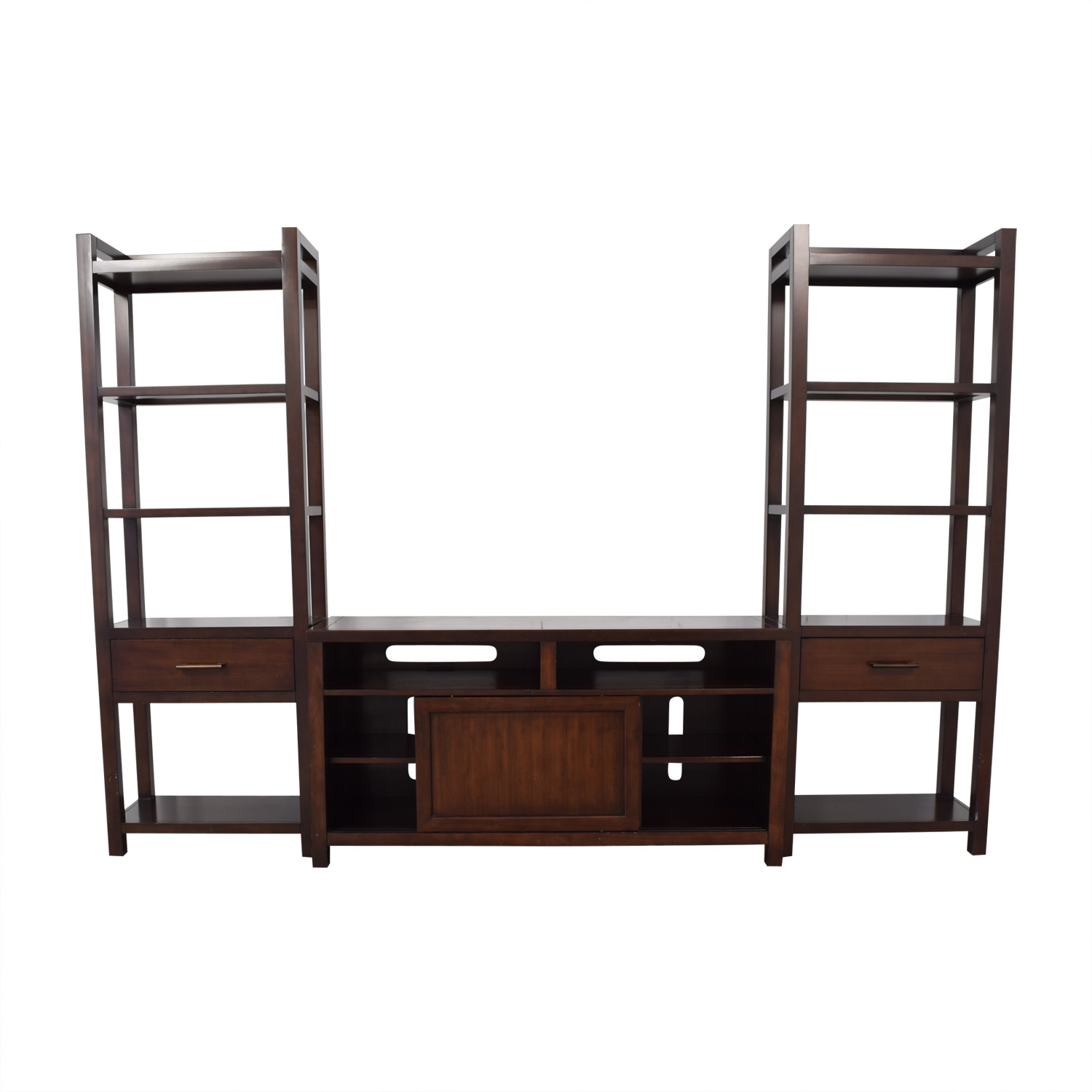 Crate & Barrel Media Console with Two Media Towers sale