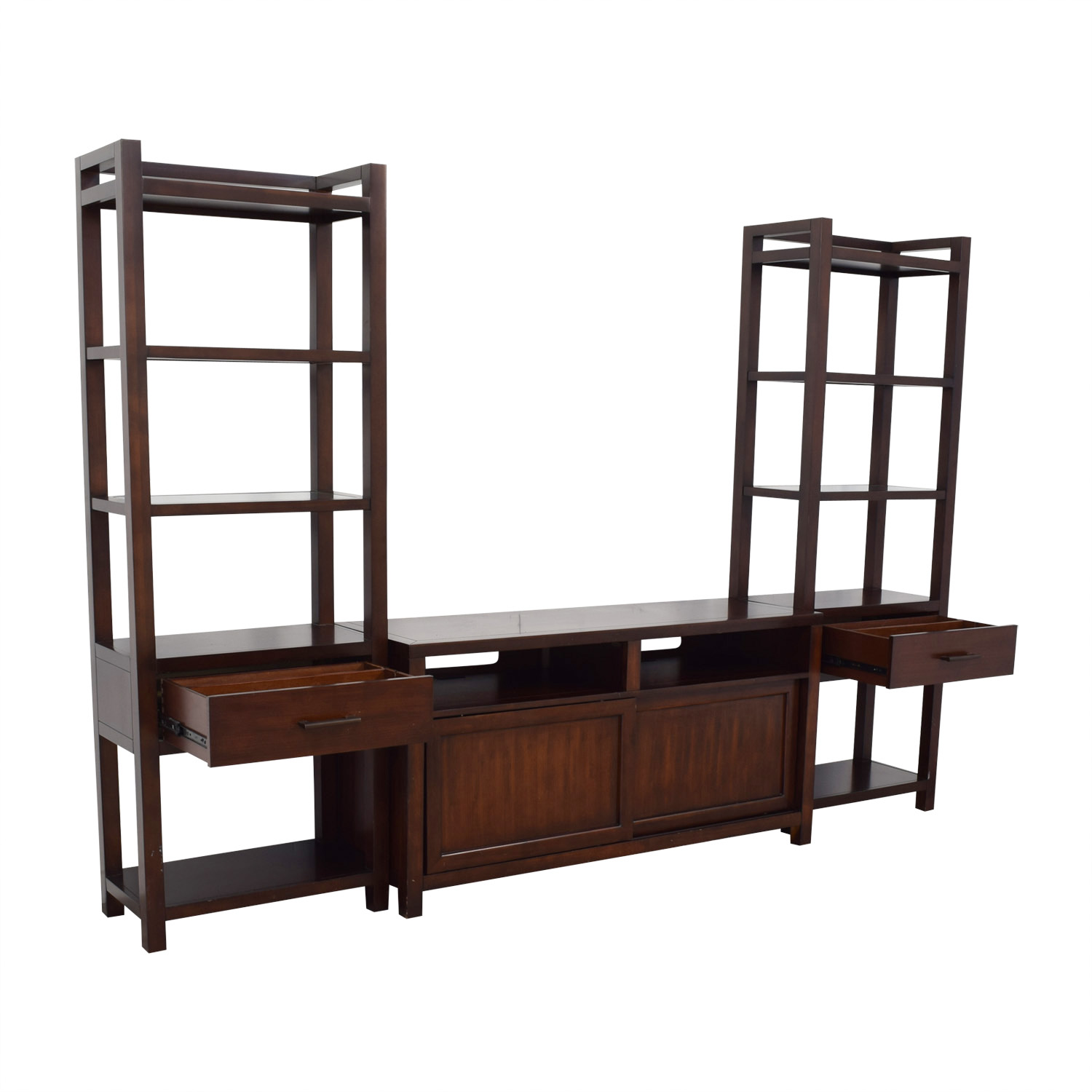 Crate & Barrel Media Console with Two Media Towers / Media Units