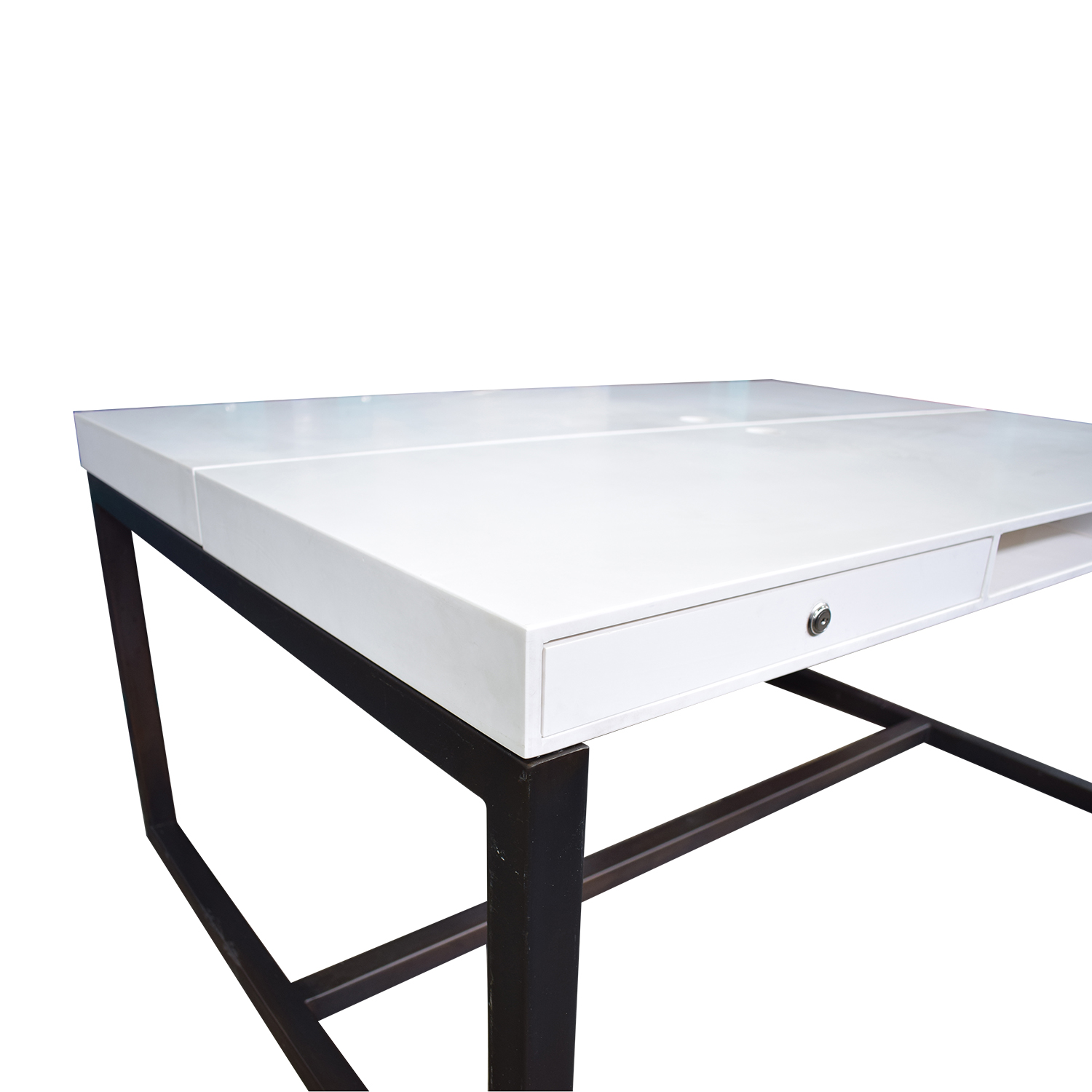 Custom Double Corian and Steel Desk on sale