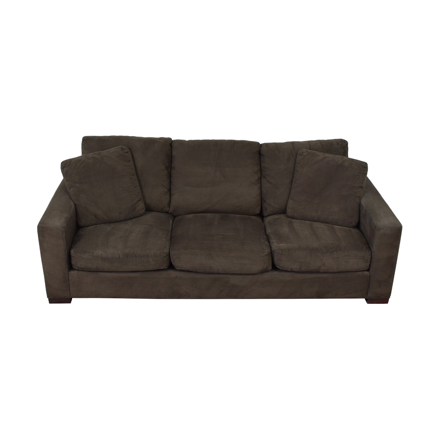Room & Board Dark Grey Micro Suede Sofa / Sofas