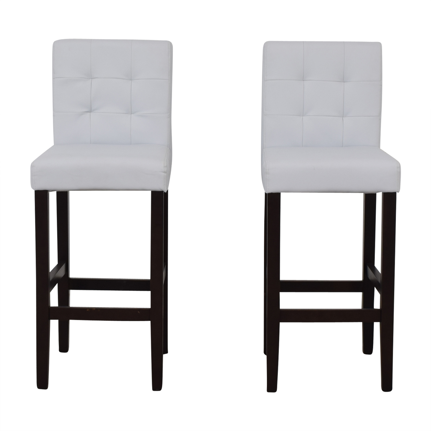 Crate & Barrel Crate & Barrel Tufted White Barstools
