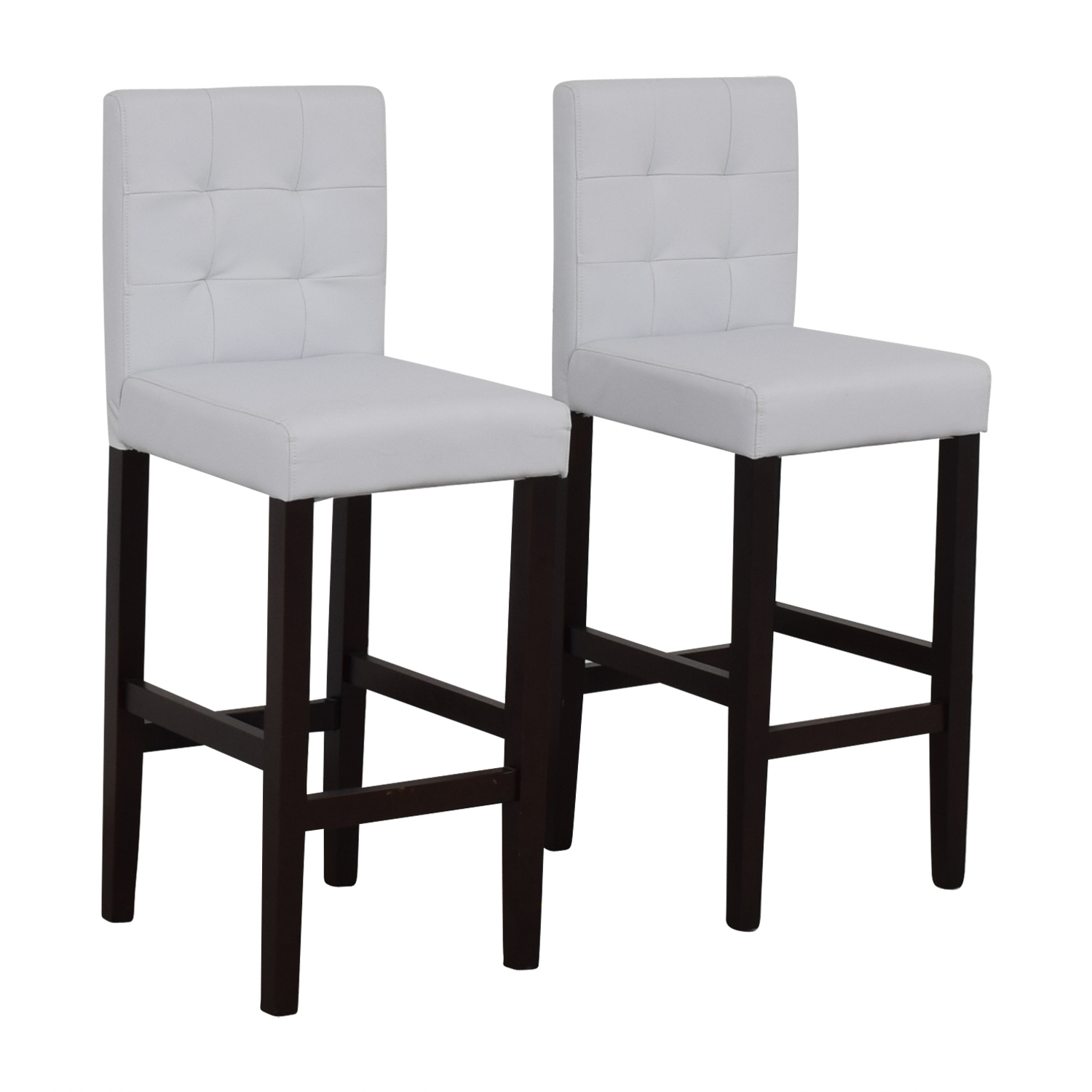 Crate & Barrel Crate & Barrel Tufted White Barstools on sale