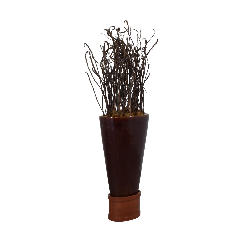 Large Decorative Vase with Wooden Base used
