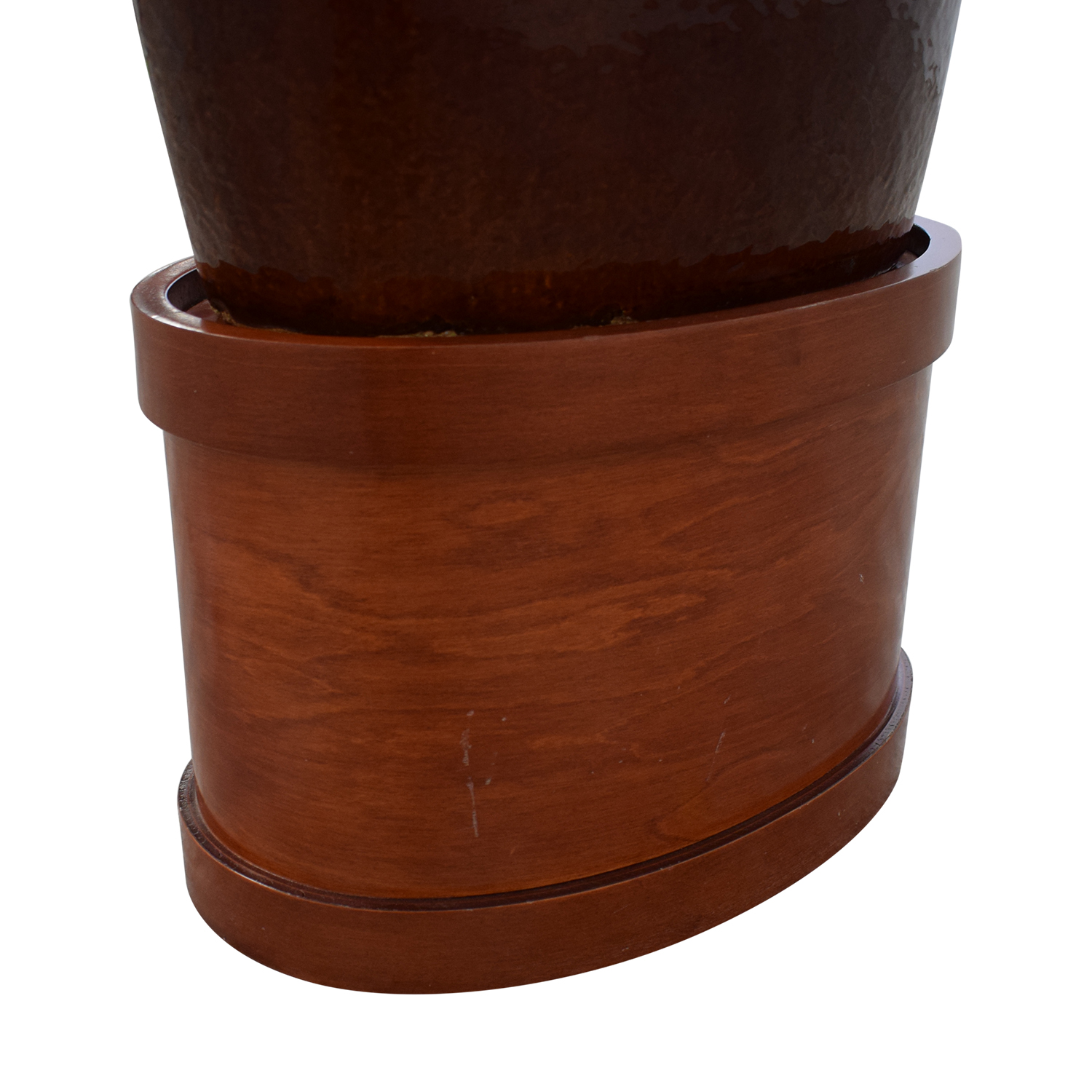 Large Decorative Vase with Wooden Base on sale