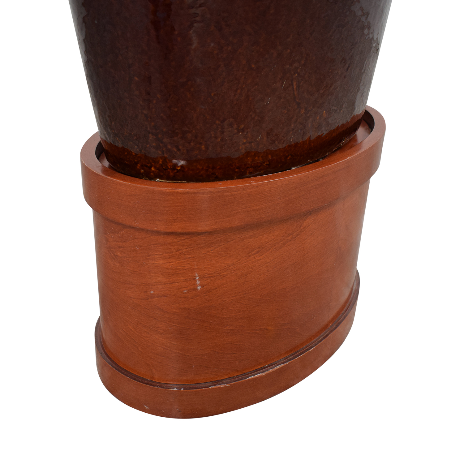 Large Decorative Vase with Wooden Base for sale