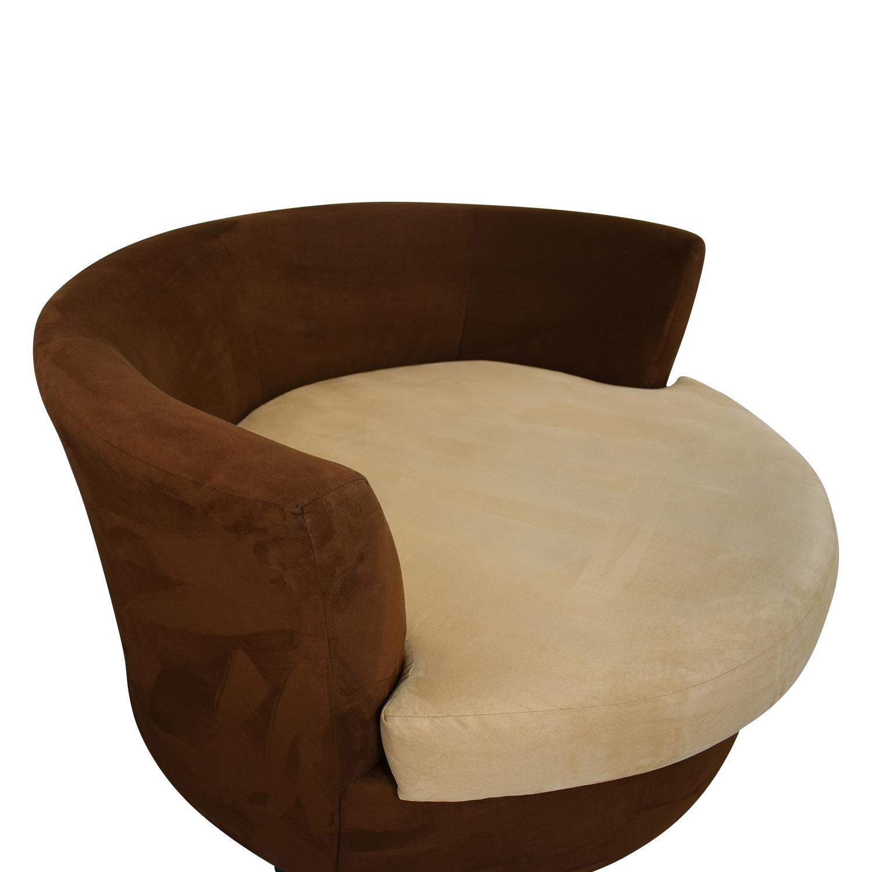 buy Kroehler Brown Suede Swivel Chair Kroehler