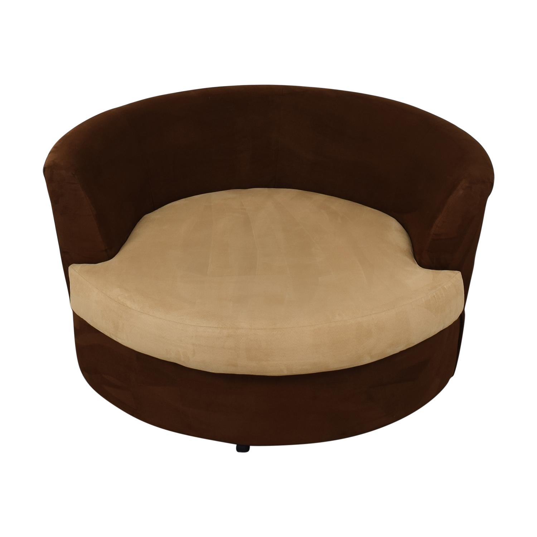 Kroehler Kroehler Brown Suede Swivel Chair discount