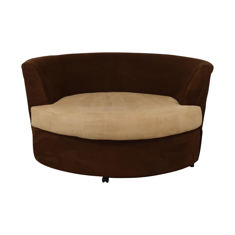 Kroehler Kroehler Brown Suede Swivel Chair