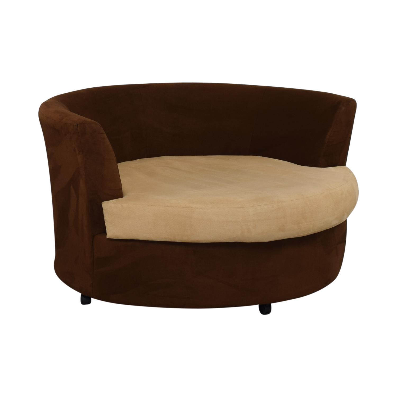 Kroehler Kroehler Brown Suede Swivel Chair used