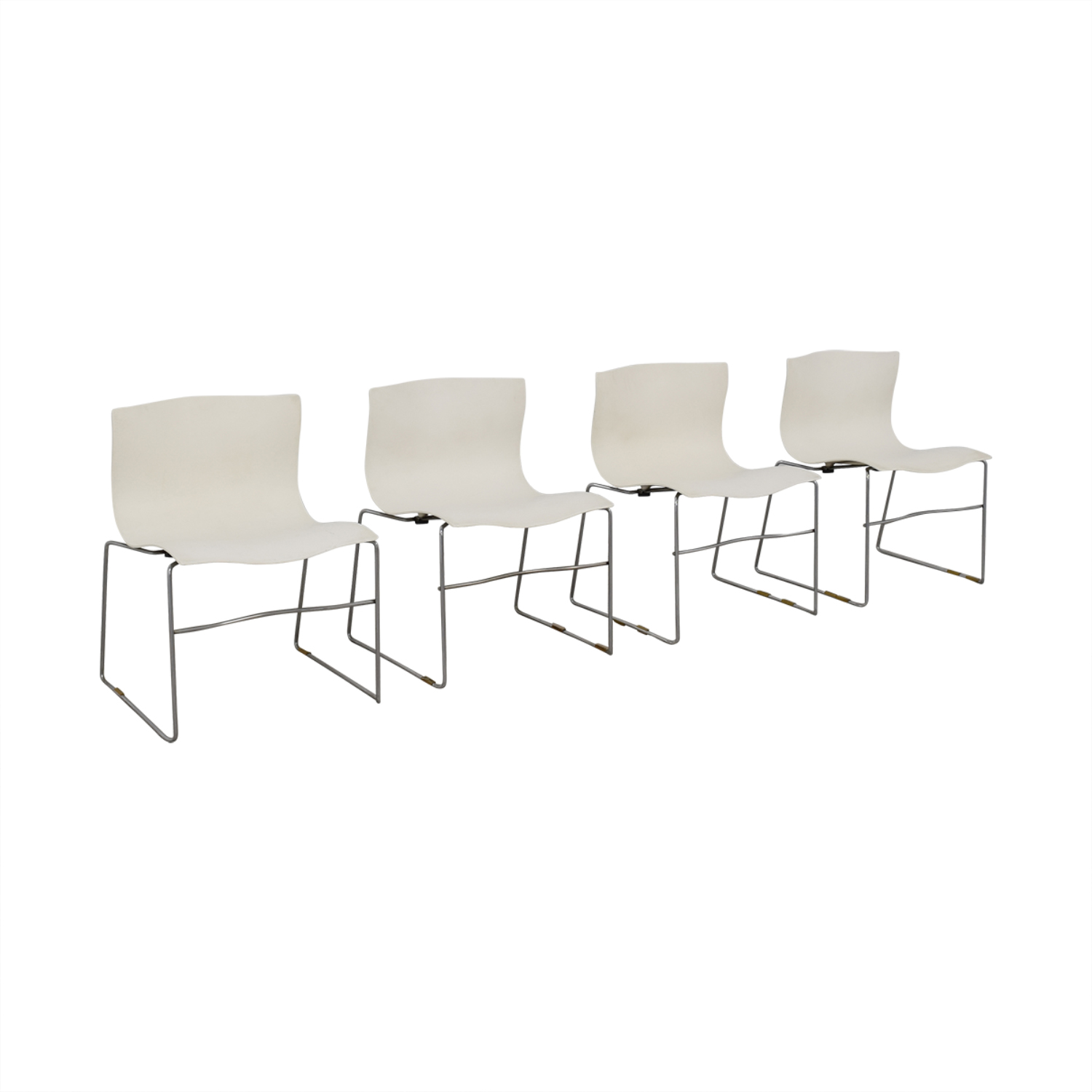 Knoll Vignelli Designs 1983 White Handkerchief Chairs Knoll