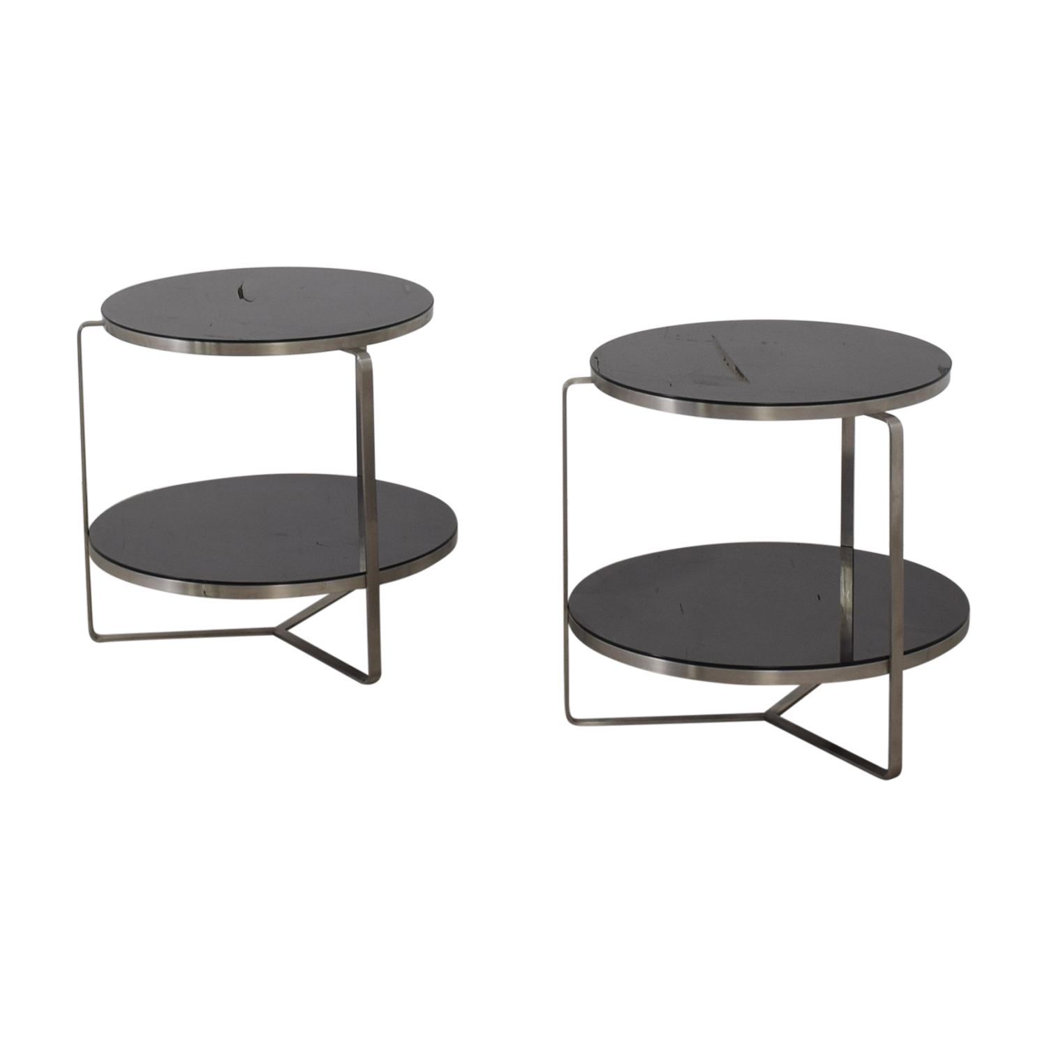 Tui Lifestyle Tui Lifestyle Black Two Tier Glass Side Tables second hand