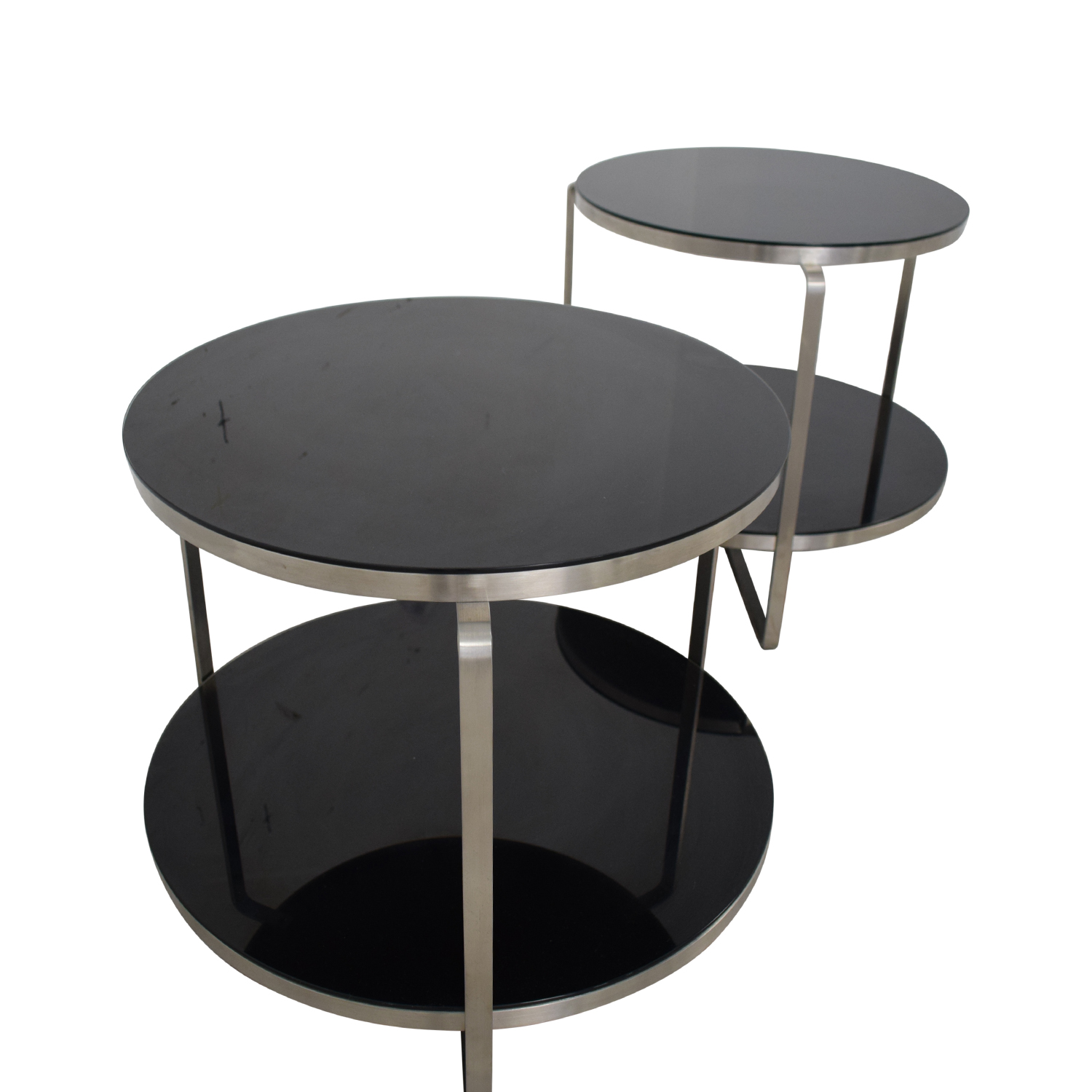 buy Tui Lifestyle Black Two Tier Glass Side Tables Tui Lifestyle