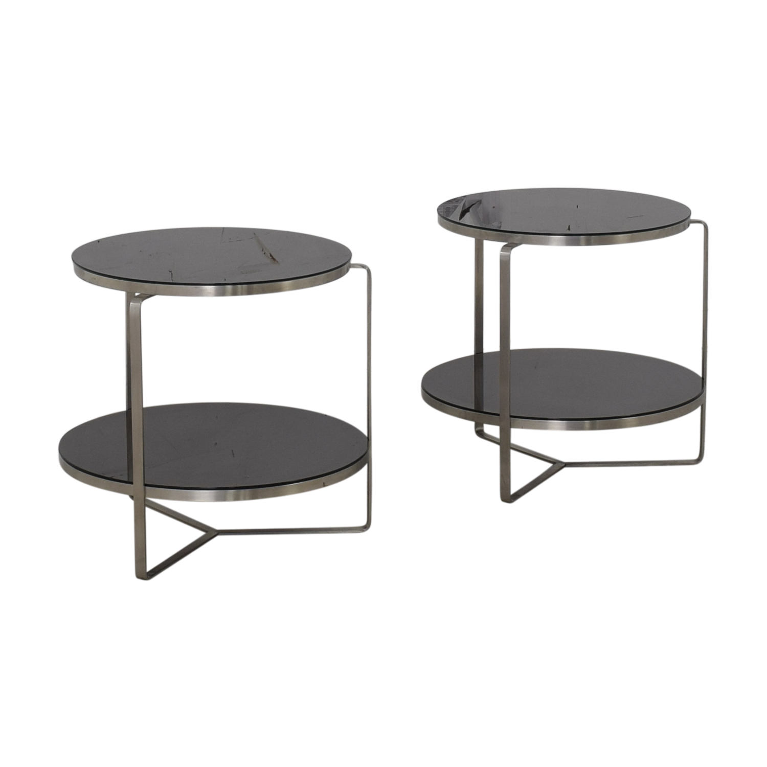 Tui Lifestyle Tui Lifestyle Black Two Tier Glass Side Tables used