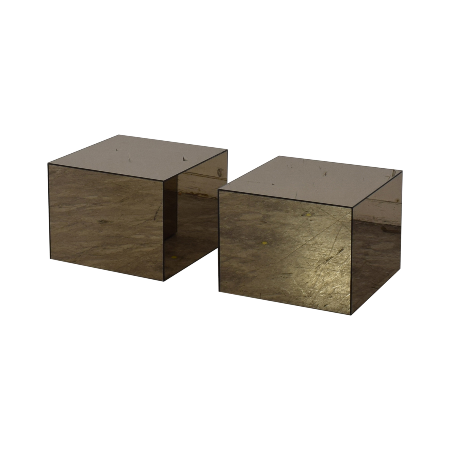 shop CB2 City Slicker Mirror Side Tables CB2 End Tables