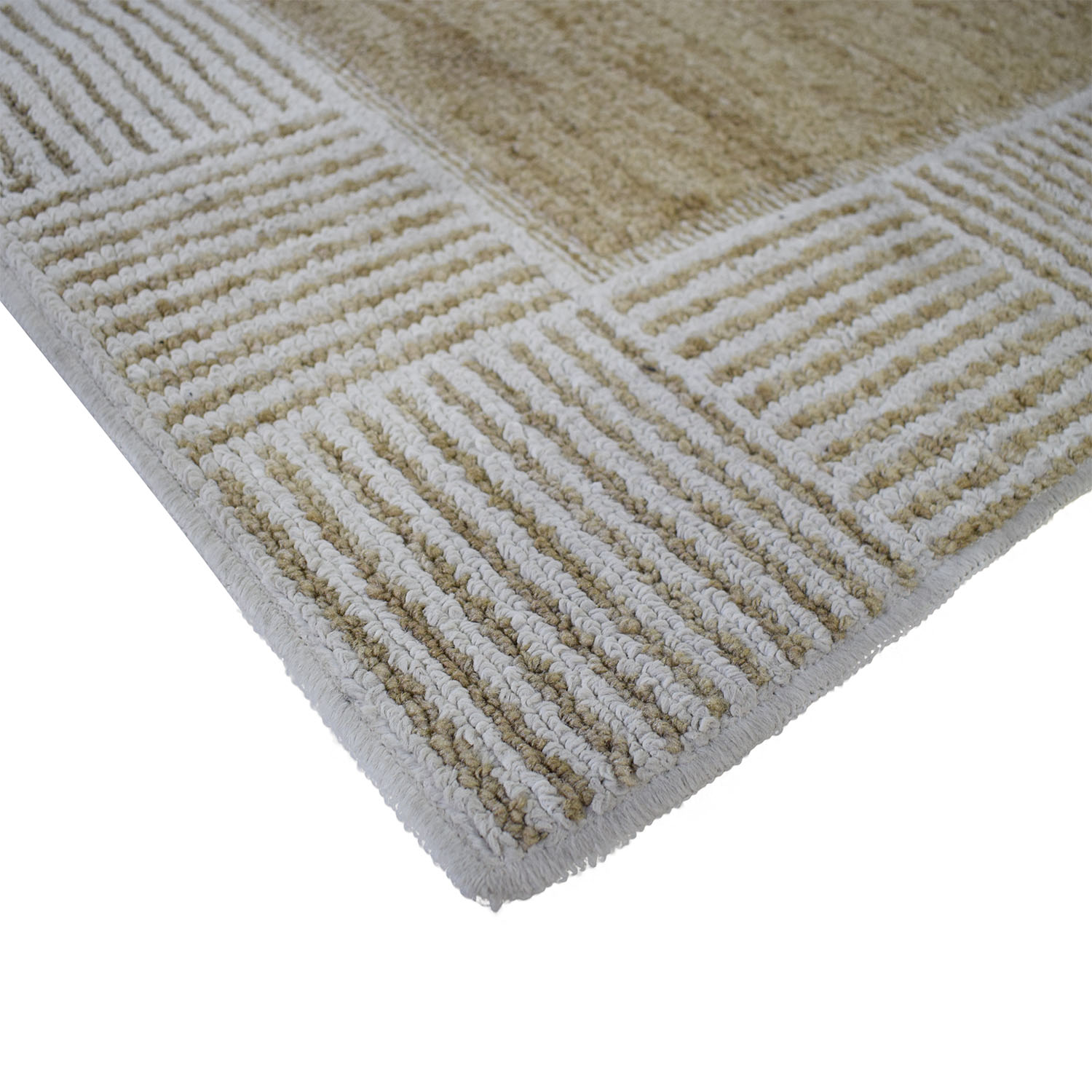 Linear Patterned Rug tan & white