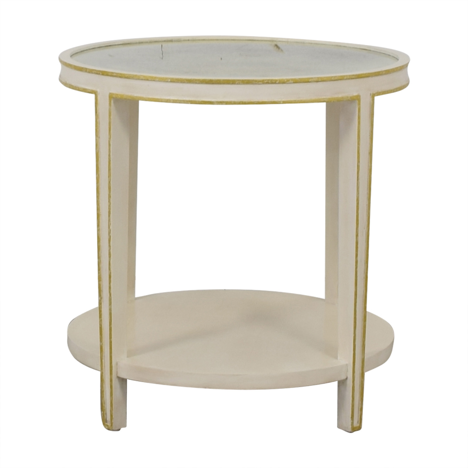 buy Oly Studio Christine Tall Round Side Table in Antiqued White Oly Studio Tables