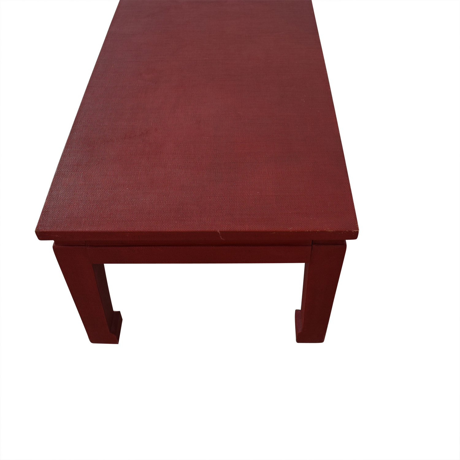 One Kings Lane One King's Lane Asian Inspired Grass-Cloth Coffee Table in Red Tables