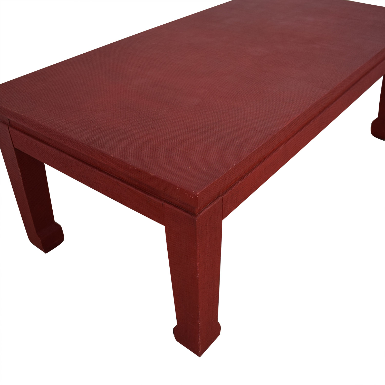 One Kings Lane One King's Lane Asian Inspired Grass-Cloth Coffee Table in Red price