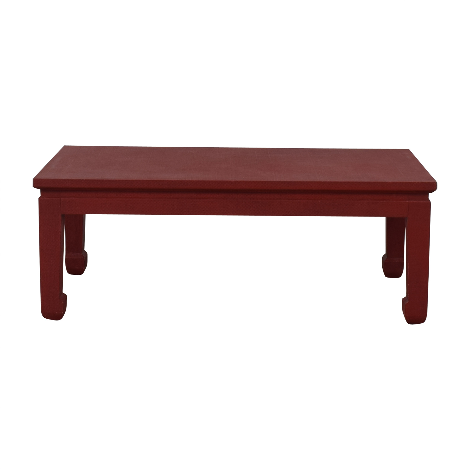 One Kings Lane One King's Lane Asian Inspired Grass-Cloth Coffee Table in Red discount