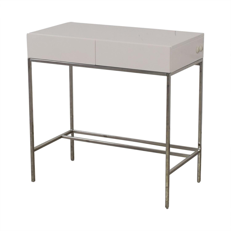 West Elm West Elm White Lacquer Mini Desk Tables