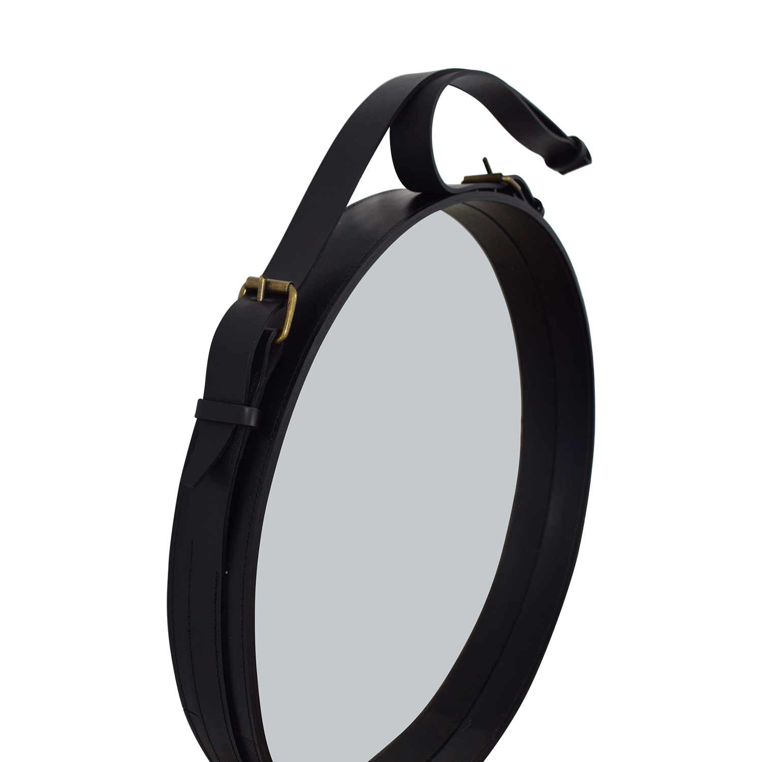 Circular Hanging Mirror with Leather Strap Frame for sale