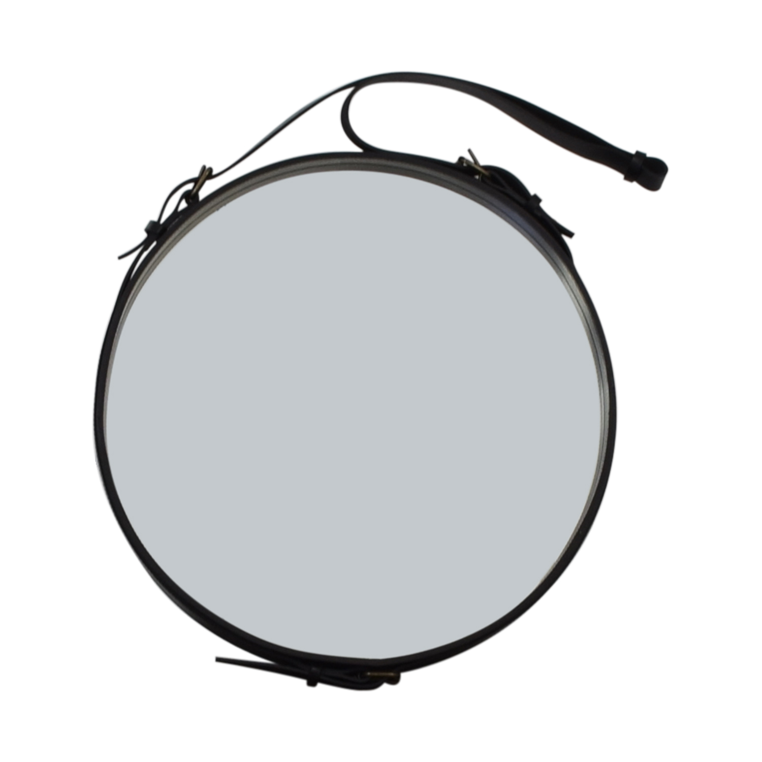 buy Circular Hanging Mirror with Leather Strap Frame