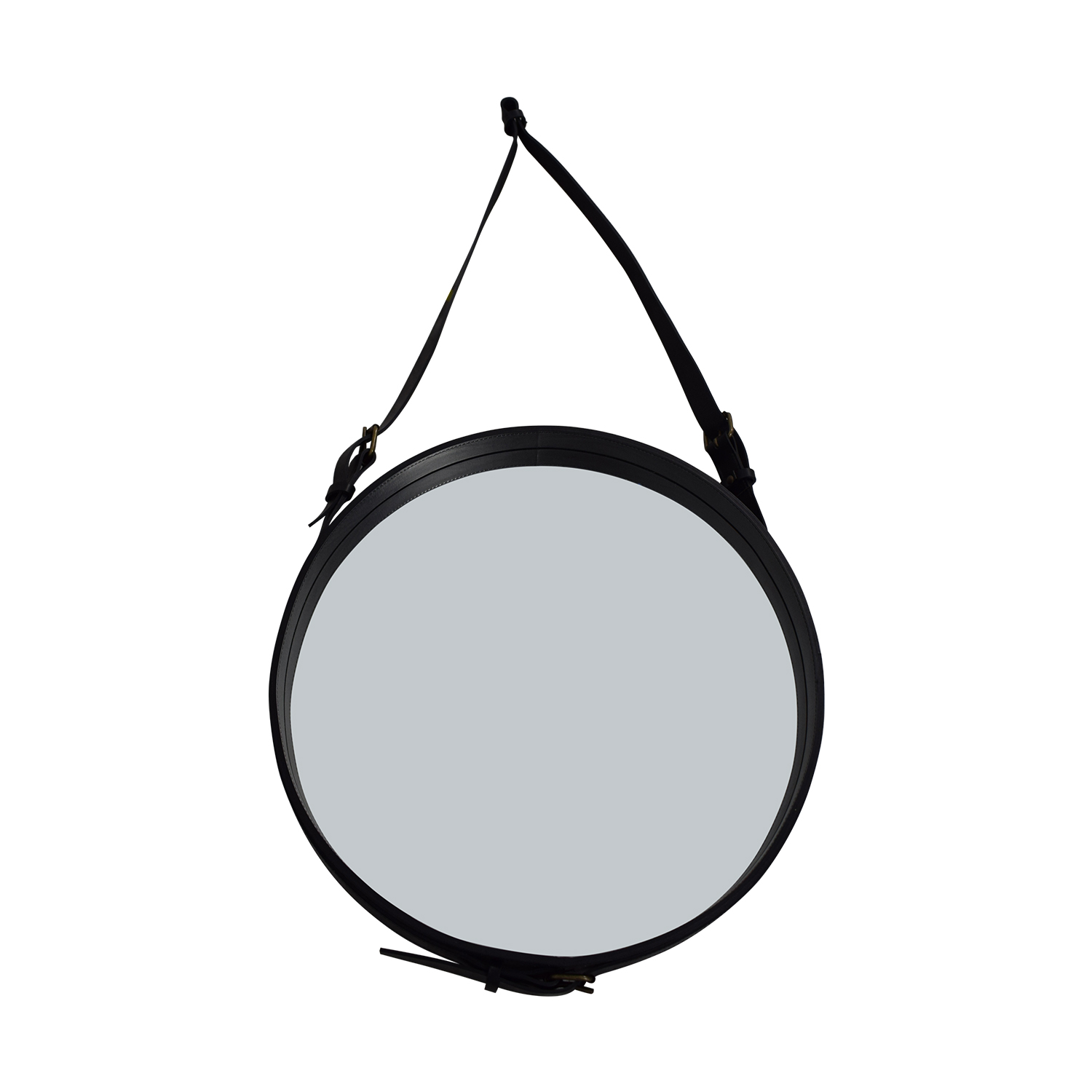 Circular Hanging Mirror with Leather Strap Frame