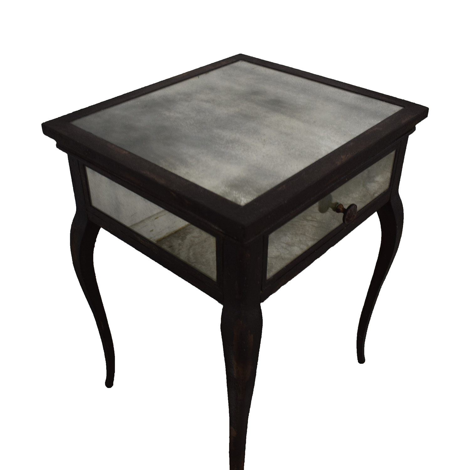 Uttermost Smoked Mirror and Metal End Table with One Drawer / End Tables