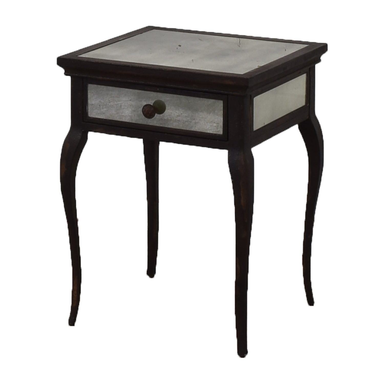 Uttermost Uttermost Smoked Mirror and Metal End Table with One Drawer brown