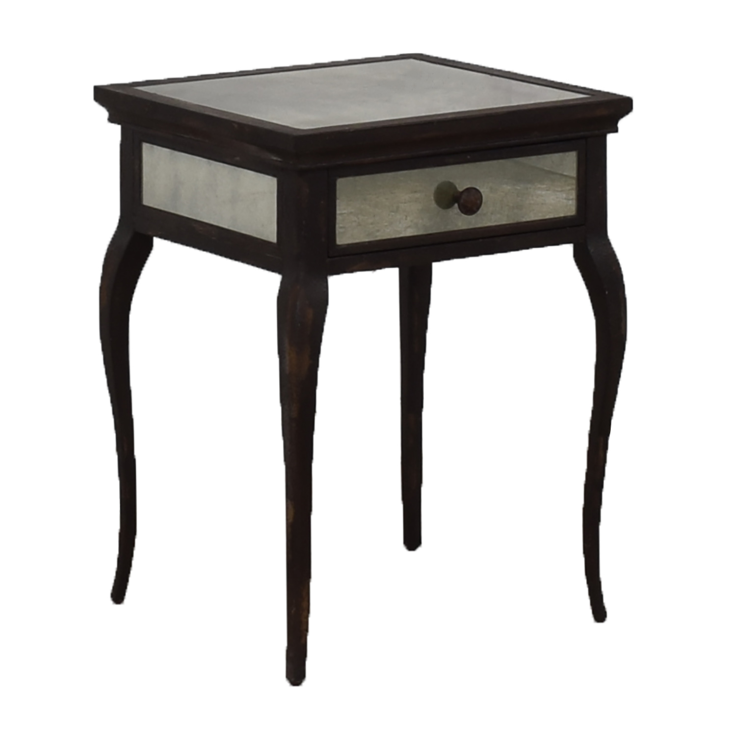 Uttermost Smoked Mirror and Metal End Table with One Drawer / Tables
