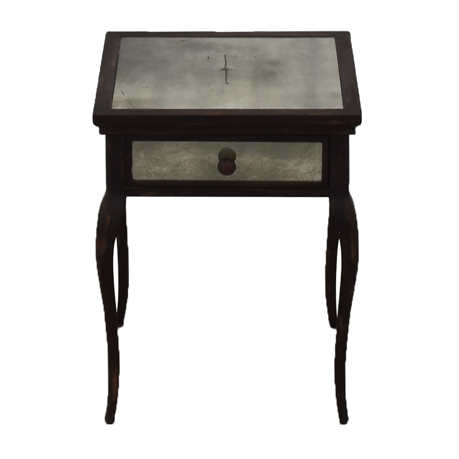 Uttermost Uttermost Smoked Mirror and Metal End Table with One Drawer nyc