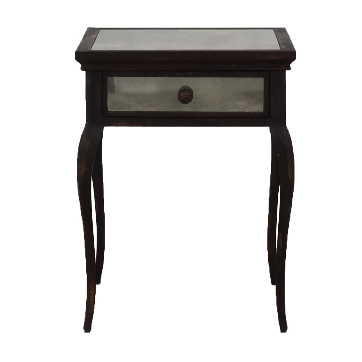 Uttermost Uttermost Smoked Mirror and Metal End Table with One Drawer nj