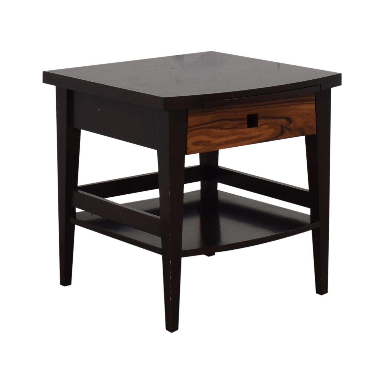 Custom Dark Wood Bedside Table on sale