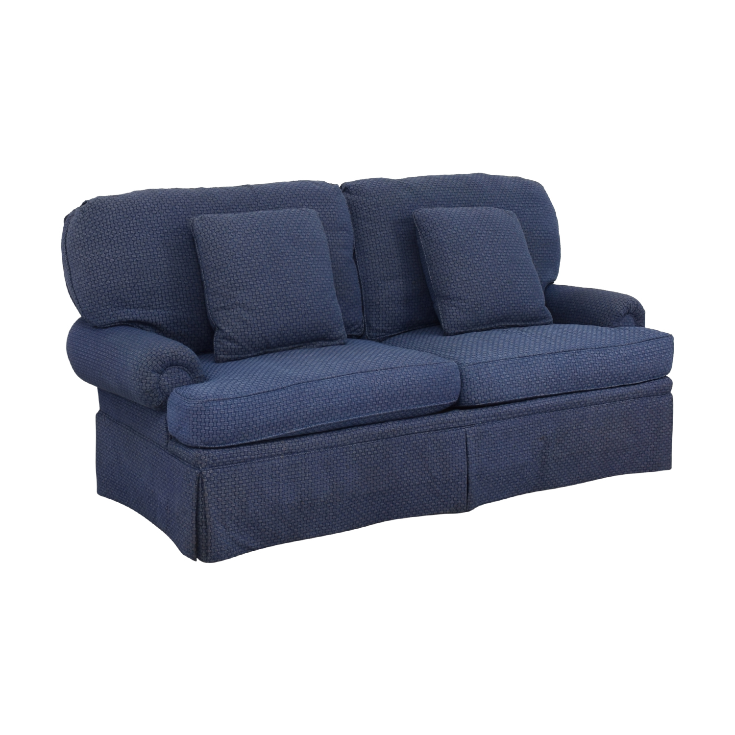 Calico Calico Classic Home Recessed Panel Arm Blue Down-Filled Sofa discount