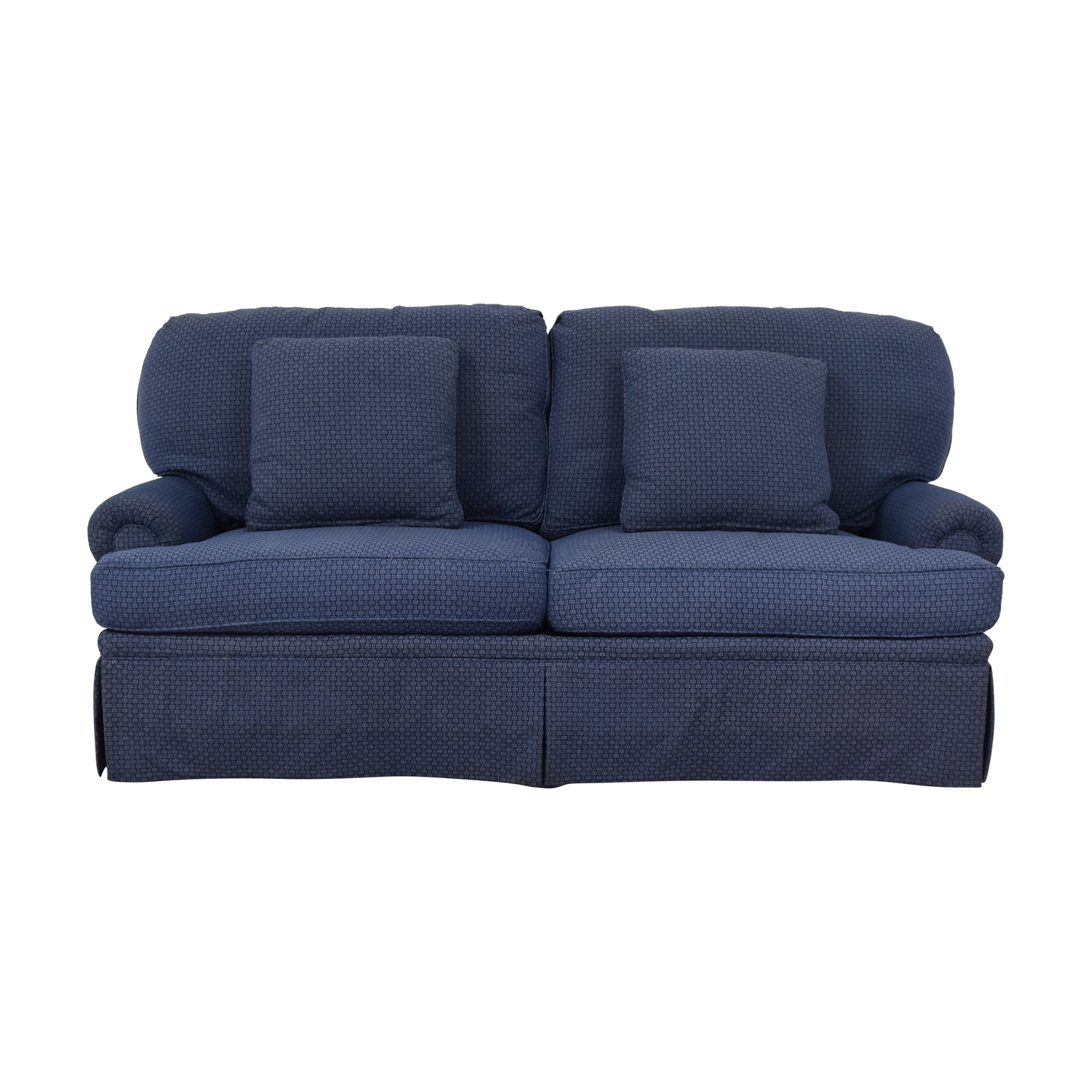 shop Calico Classic Home Recessed Panel Arm Blue Down-Filled Sofa Calico Classic Sofas