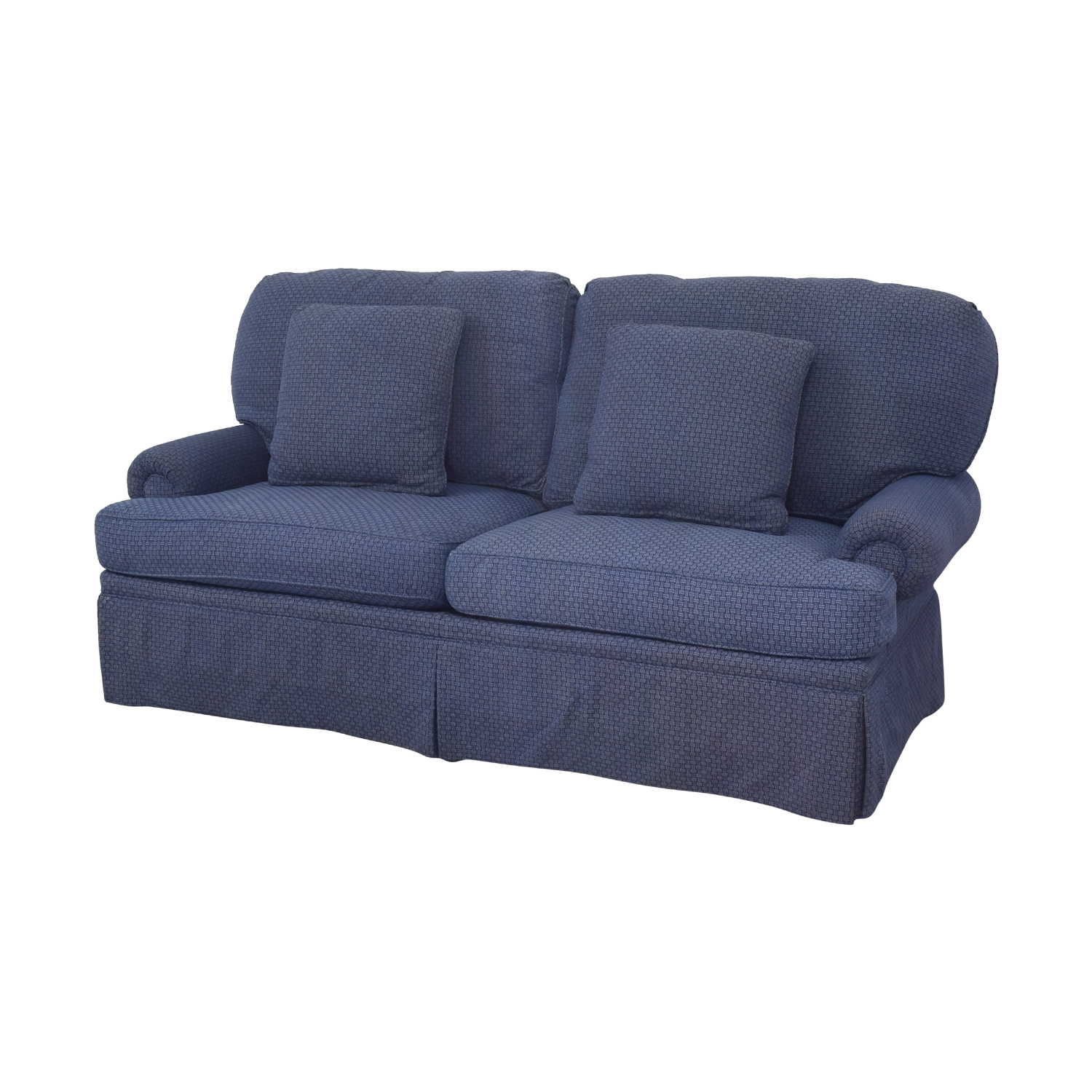 Calico Calico Classic Home Recessed Panel Arm Blue Down-Filled Sofa second hand