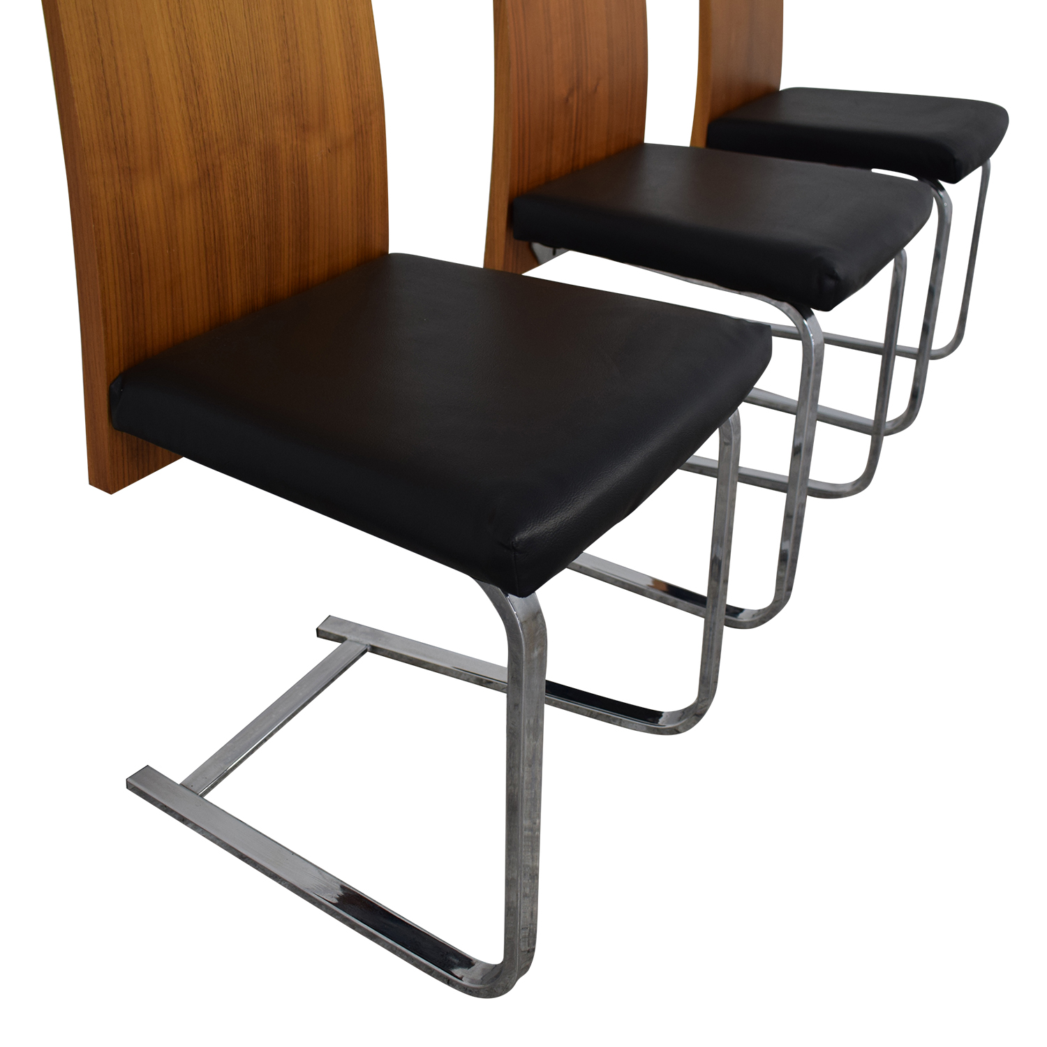 buy Domitalia Jeff-sl Chrome Black Leather and Wood Dining Chairs Domitalia Chairs