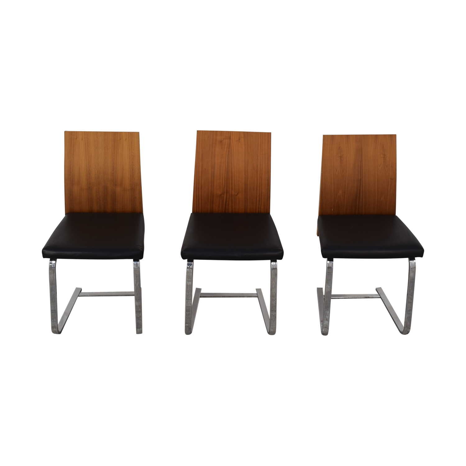 Domitalia Jeff-sl Chrome Black Leather and Wood Dining Chairs / Dining Chairs