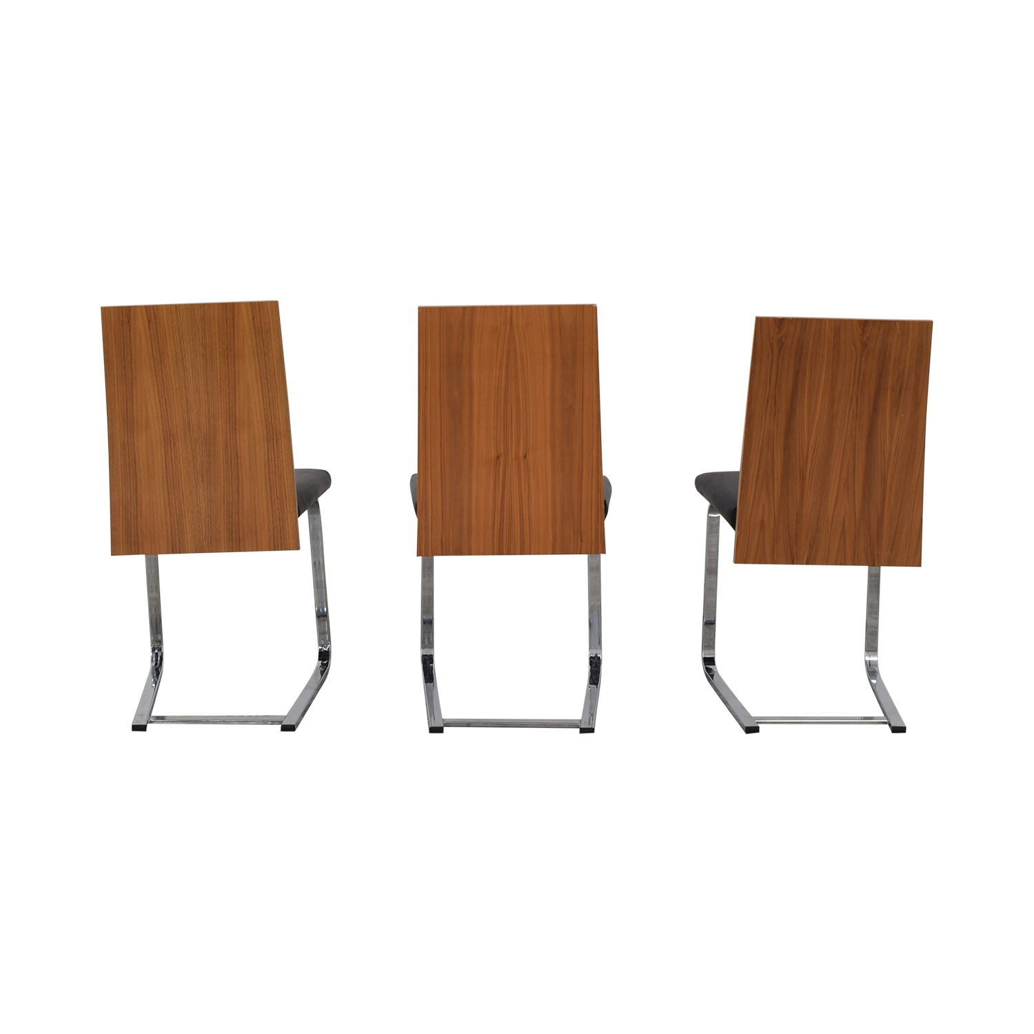 Domitalia Domitalia Jeff-sl Chrome Black Leather and Wood Dining Chairs discount