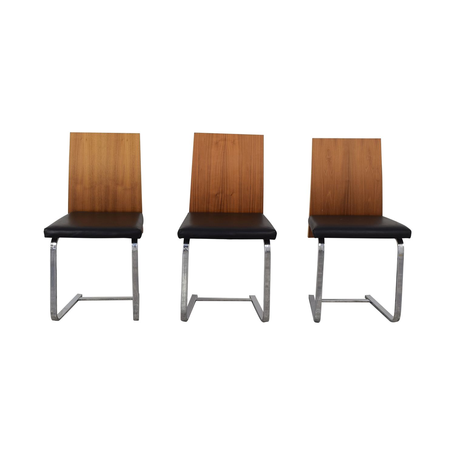 shop Domitalia Domitalia Jeff-sl Chrome Black Leather and Wood Dining Chairs online