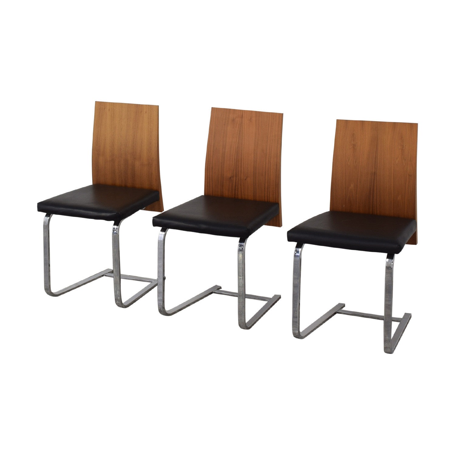 Domitalia Domitalia Jeff-sl Chrome Black Leather and Wood Dining Chairs second hand