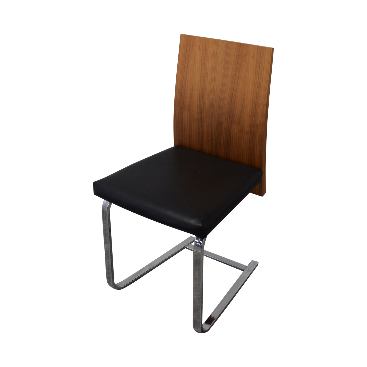 shop Domitalia Jeff-sl Chrome Black Leather and Wood Dining Chairs Domitalia Dining Chairs