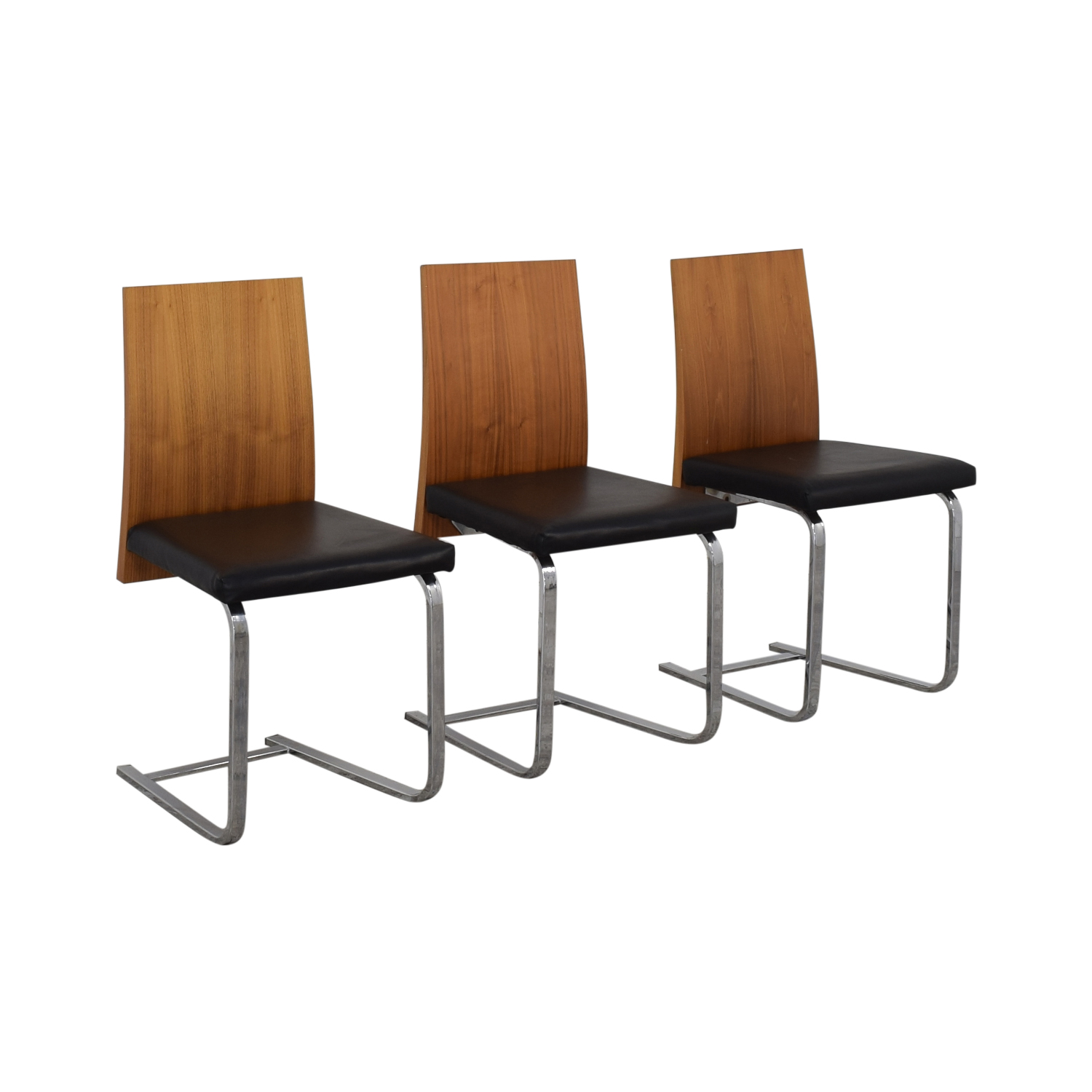 shop Domitalia Jeff-sl Chrome Black Leather and Wood Dining Chairs Domitalia