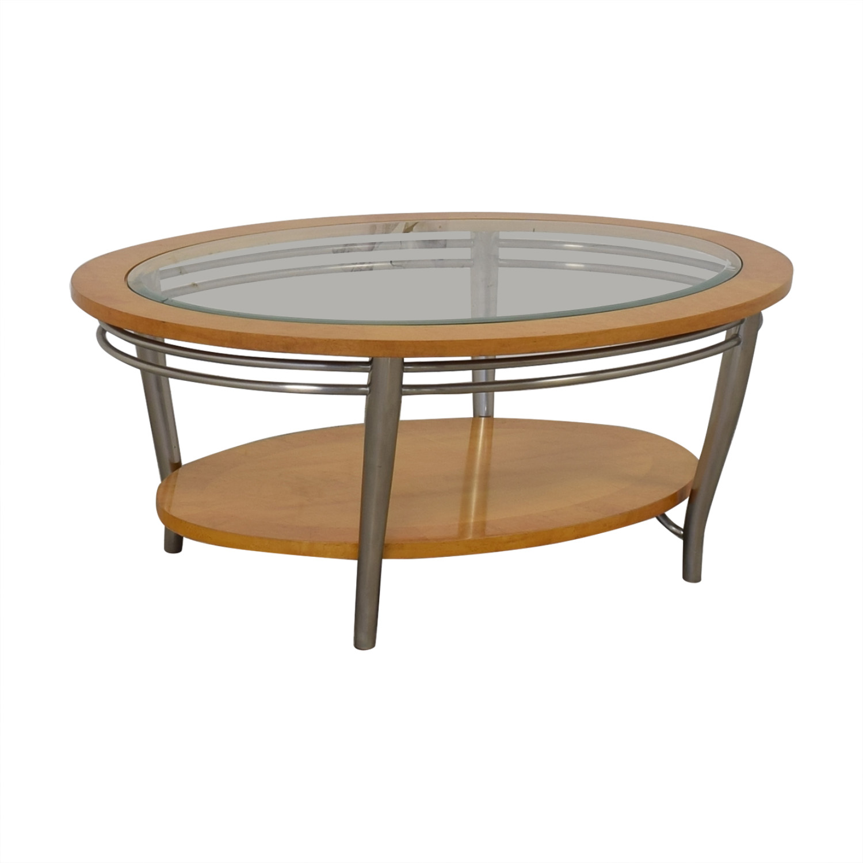 Bernhardt Bernhardt Wooden Oval Coffee Table second hand