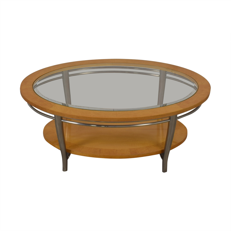 shop Bernhardt Wooden Oval Coffee Table Bernhardt