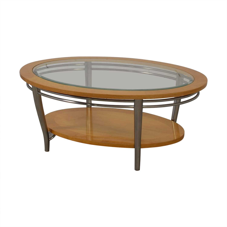 Bernhardt Bernhardt Wooden Oval Coffee Table used