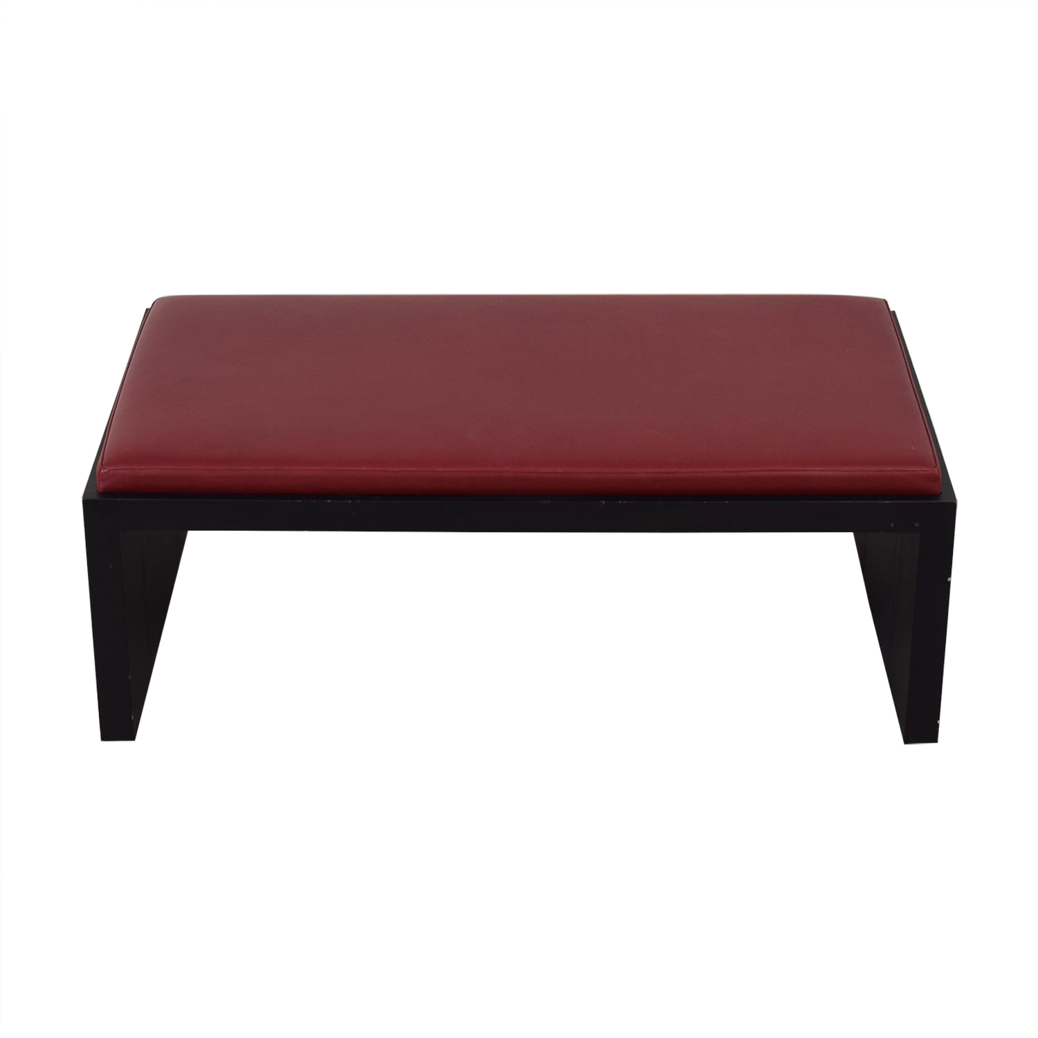 Wood and Leather Bench Coffee Table on sale