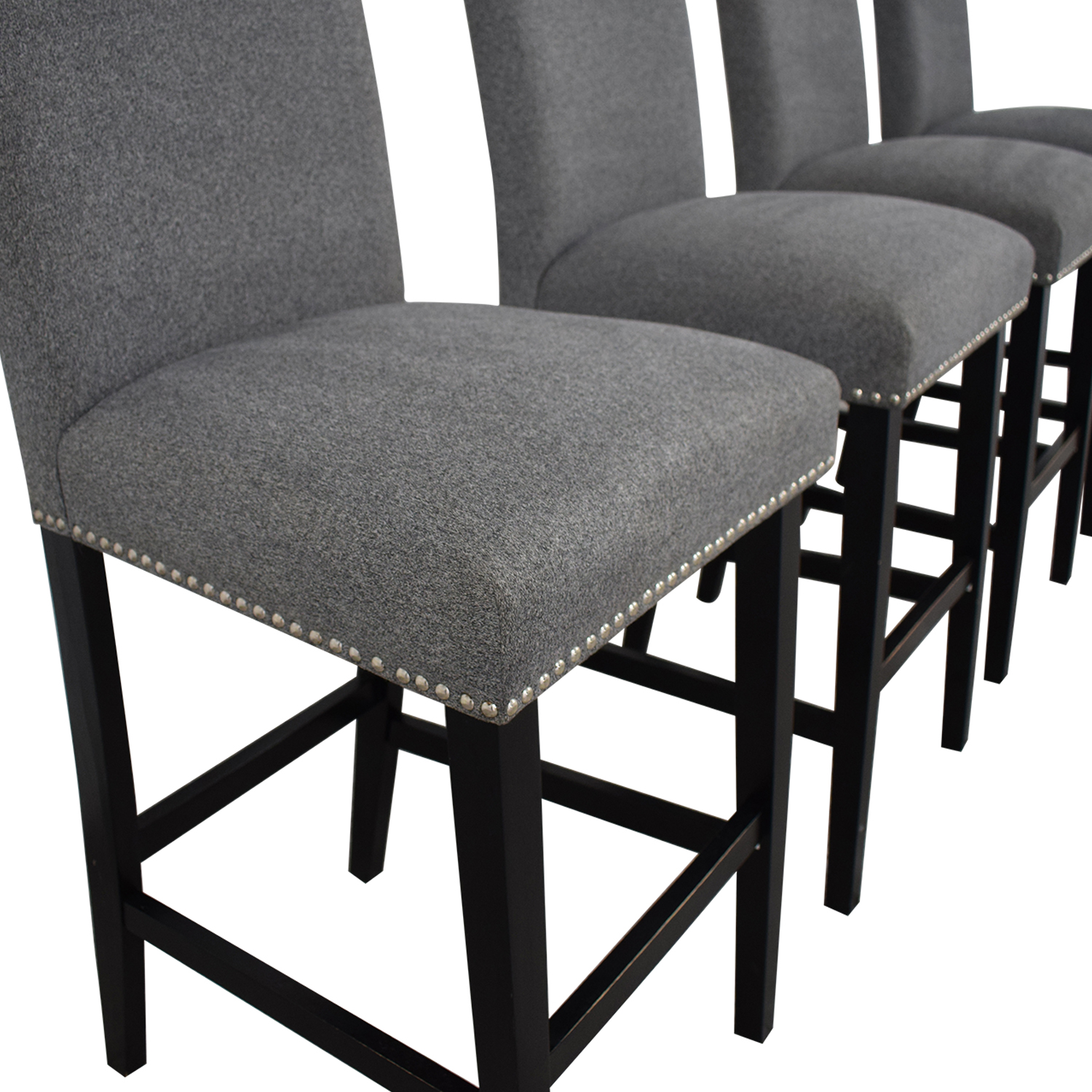 72 Off Grey Nailhead Upholstered Counter Stools Chairs
