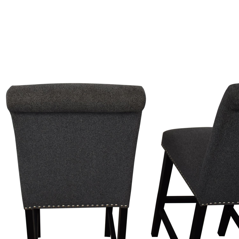 Grey Nailhead Upholstered Counter Stools Stools