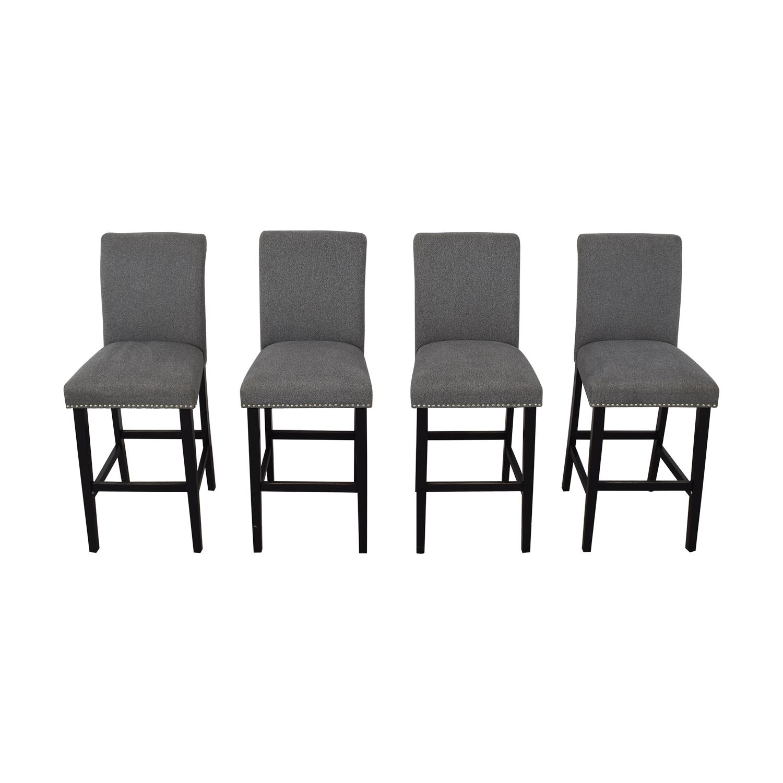 Grey Nailhead Upholstered Counter Stools / Stools